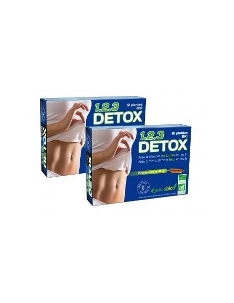 123 Detox Bio lot de 2 boîtes de 20 ampoules de 10 ml - draineur bio