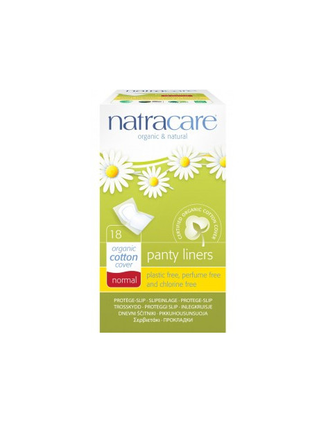 Protège slips coton bio naturels incurvés emballés 18 unités Natracare