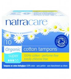 10 Tampons super sans applicateur en coton bio Natracare