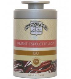Piment d'espelette AOP pot en verre dans une boite métal 40g Provence D Antan