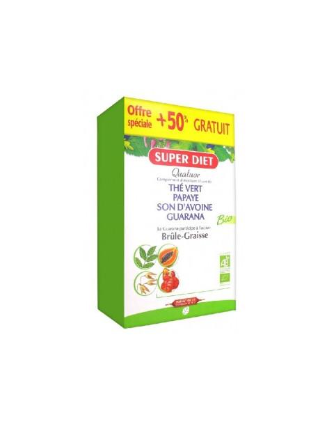 Quatuor brule graisse 20 ampoules de 15ml + 50% gratuit Super Diet