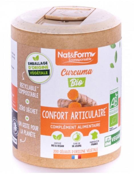 Curcuma + Pipérine Bio 200 gélules Nat et Form