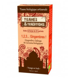 1, 2, 3 Gingembres ! Recharge (Gingembre Galanga Curcuma) 20 sachets Tisanes Et Traditions