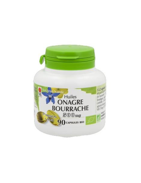 Huile d'onagre et bourrache 500 mg Bio - 90 gélules - Vecteur Santé