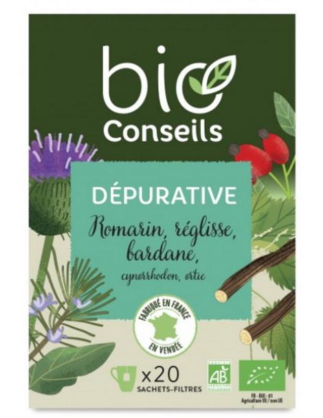 Bio Conseils Infusion Dépurative bio 20 sachets filtre Herboristerie de paris