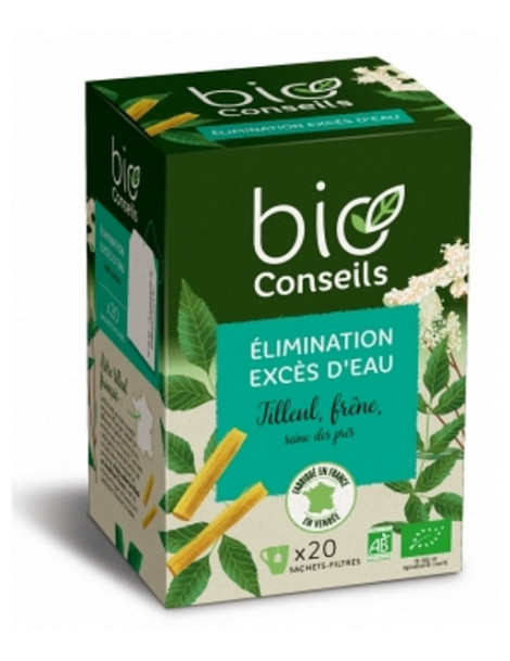 Bio Conseils Infusion Élimination Rétention d'eau bio 20 sachets filtre Herboristerie de paris