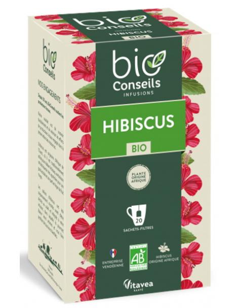 Infusion Hibiscus bio 20 sachets filtre Bio Conseils Herboristerie de paris