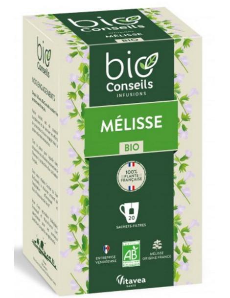 Infusion Mélisse bio 20 sachets filtre Bio Conseils Herboristerie de Paris