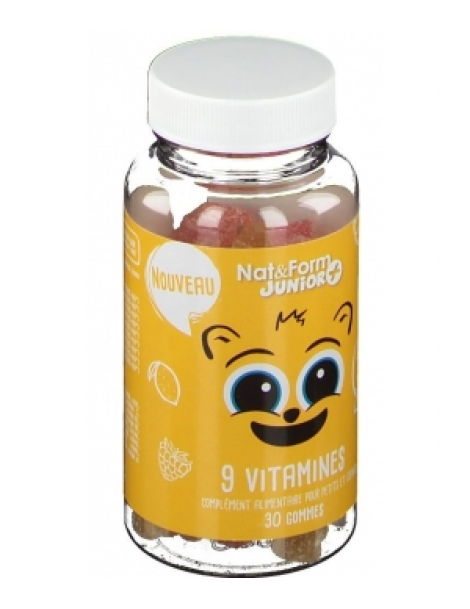 9 Vitamines Junior+ 30 oursons Nat et Form enfants Herboristerie de paris