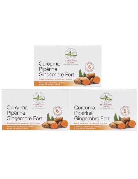 Curcuma pipérine gingembre fort modèle cure de 3 x 60 comprimés Herboristerie de Paris articulations et mobilité