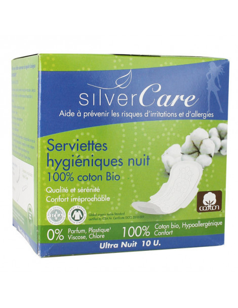 Serviettes nuit 100% coton bio Ultra minces ailettes 10 unités Silvercare serviette hygiénique Herboristerie de paris