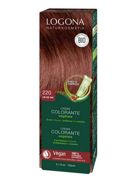 Crème colorante Lie de vin 202 cheveux chatains 150 ml Logona herboristerie de paris