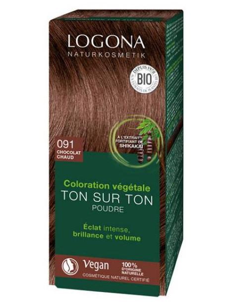 Coloration végétale Ton sur Ton en poudre 091 Chocolat chaud 100 gr Logona Herboristerie de paris