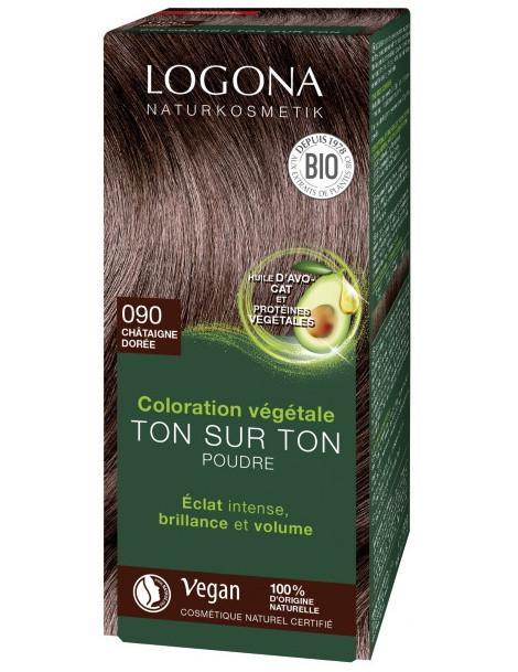 coloration végétale ton sur ton 090 en poudre Chataîgne dorée 100 gr Logona soin colorant Herboristerie de paris
