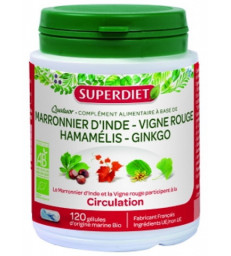 Quatuor Circulation Vigne Rouge Marronnier Hamamélis Ginkgo 120 gélules Super Diet
