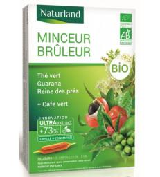 Minceur brûleur Thé Vert Café Vert guarana Reine des prés Bio 20 ampoules Naturland