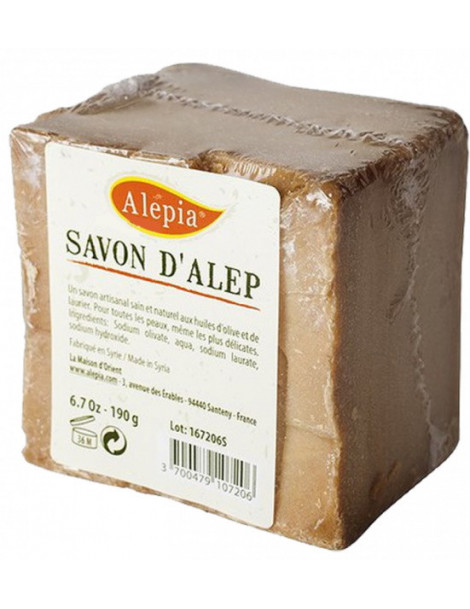 Savon d'Alep filmé peaux délicates 190 gr Alepia savon ancestral Herboristerie de paris