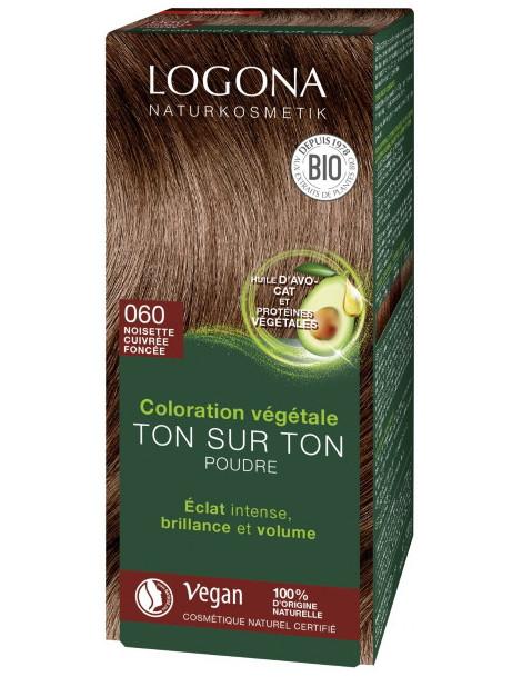 Coloration végétale Ton sur Ton Noisette Cuivrée foncée 060 poudre 100gr Logona