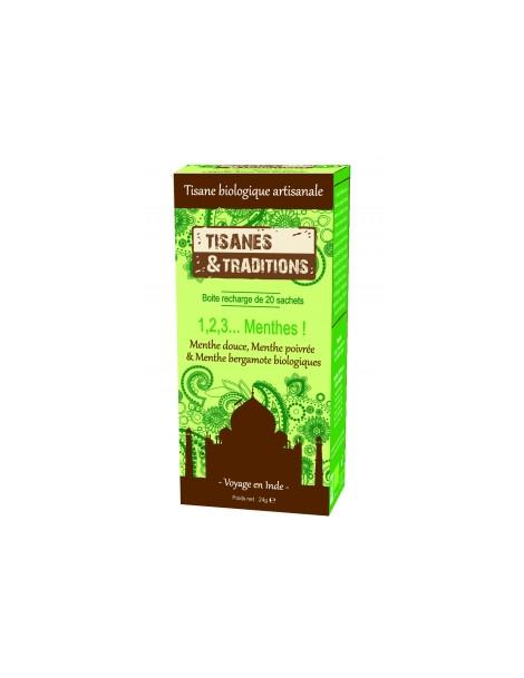 1,2,3 Menthes ! Recharge (Menthe Douce, Poivree, Bergamote) 20 sachets Tisanes Et Traditions