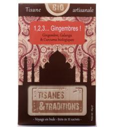 1, 2, 3 Gingembres  Boite en bois (Gingembre Galanga Curcuma) 30 sachets Tisanes Et Traditions