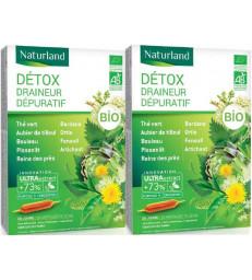 Detox Bio (association de 9 plantes) Lot de 2 boîtes 20 ampoules Naturland