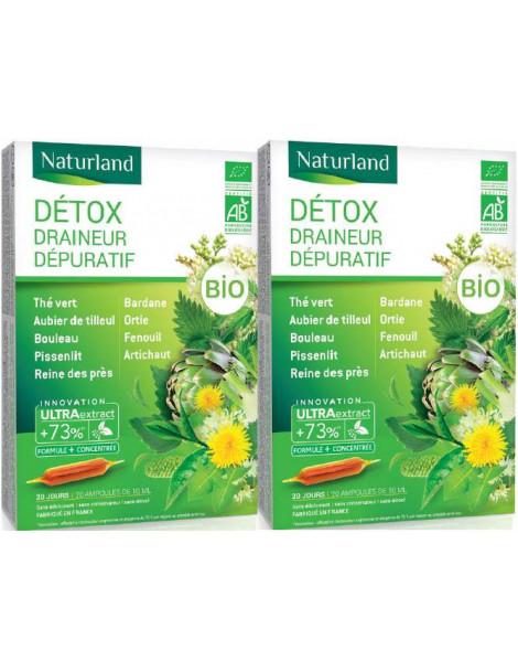 Detox Bio (association de 9 plantes) Lot de 2 boîtes 20 ampoules Naturland draineur bio Herboristerie de paris