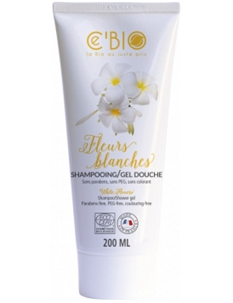 Shampooing gel douche Fleurs Blanches 200ml C'Bio cheveux fragiles peau sensible Herboristerie de paris