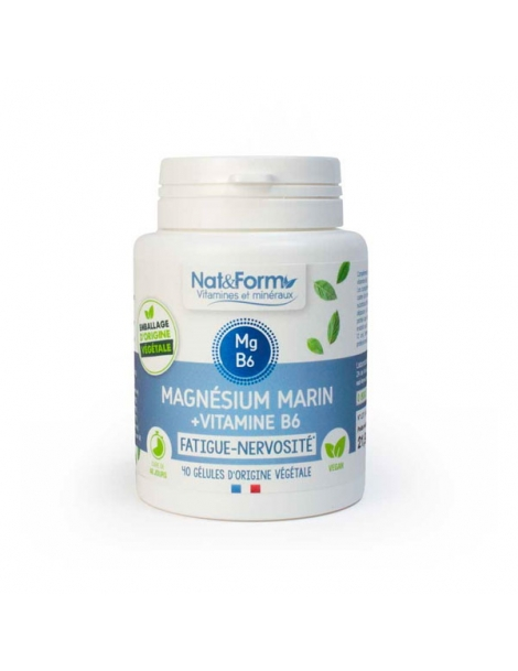 Magnésium marin Vitamine B6 40 gélules Nat et Form stress nervosité sommeil Herboristerie de paris