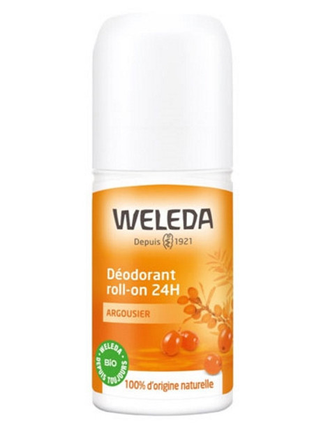 Déodorant roll on 24h Argousier 50ml Weleda senteurs de mandarine et d'orange Herboristerie de paris