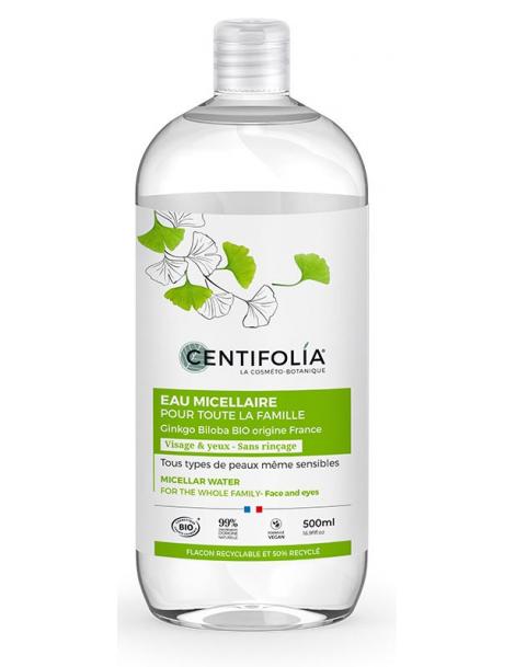 Eau Micellaire pour toute la famille ginkgo 500ml Centifolia Herboristerie de paris