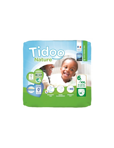 18 Couches Single Pack (T6/XXL) 16 30 Kg Tidoo Herboristerie de Paris