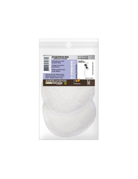 2 disques à démaquiller en coton bio réutilisables Allo Nature Herboristerie de Paris