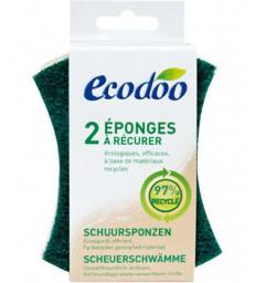 2 Eponges vertes à récurer en matières recyclées à 97% Ecodoo