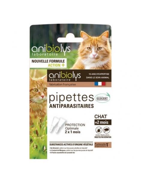 2 Pipettes antiparasitaires chat + de 2 mois 1.2ml Anibiolys Herboristerie de Paris