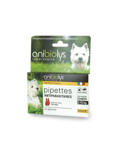 2 Pipettes antiparasitaires petit et moyen chien 2ml Anibiolys Herboristerie de Paris