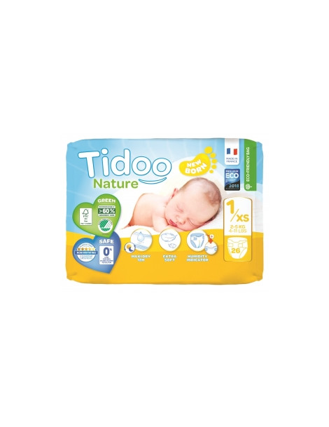 26 Couches Single Pack (T1/XS) 2/5kg Tidoo Herboristerie de Paris