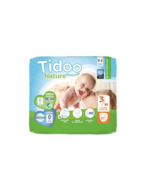 27 Couches Eco Single Pack (T3/M) 4/9kg Tidoo Herboristerie de Paris