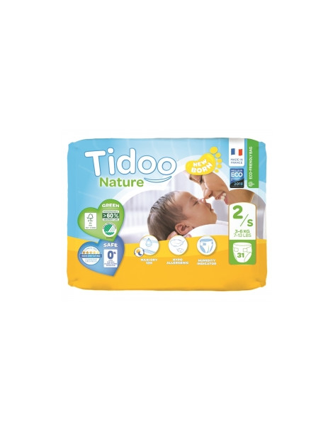 31 Couches Single Pack (T2/S) 3/6kg Tidoo Herboristerie de Paris