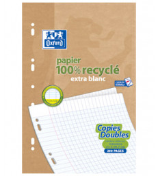 50 Copies doubles recyclées 21 x 29.7cm Oxford grands carreaux perforées A4 90g Ecoburo