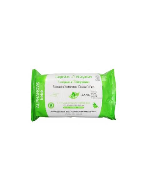 60 Lingettes nettoyantes à l'huile d'olive vierge bio Alphanova Herboristerie de Paris