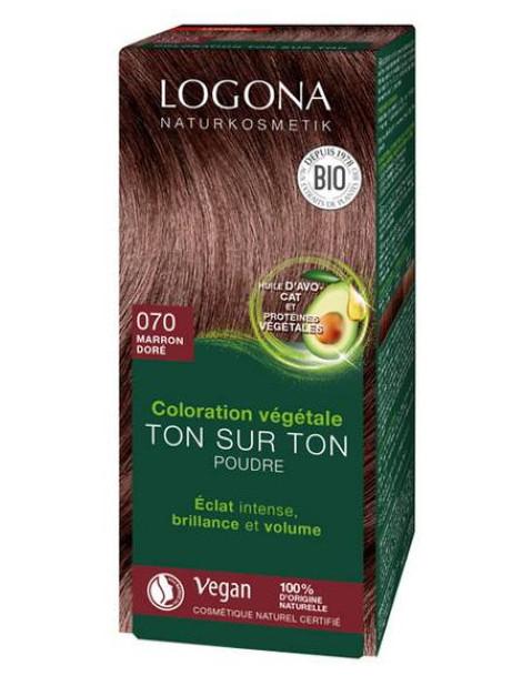 Coloration végétale Ton sur Ton en poudre 070 Marron doré 100gr Logona soin colorant Herboristerie de paris