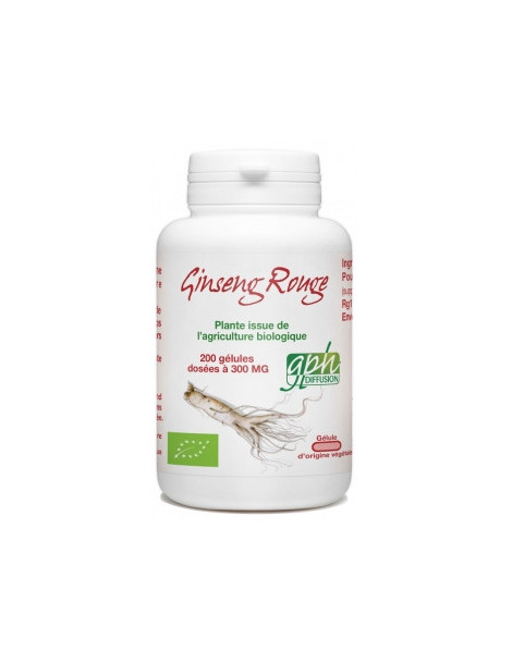 Ginseng Rouge racine bio 300MG 200 gélules GPH Herboristerie de paris
