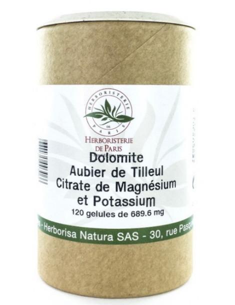 Dolomite Aubier de tilleul Citrates de magnésium et de potassium 120 Gélules Herboristerie de Paris acidose métabolique