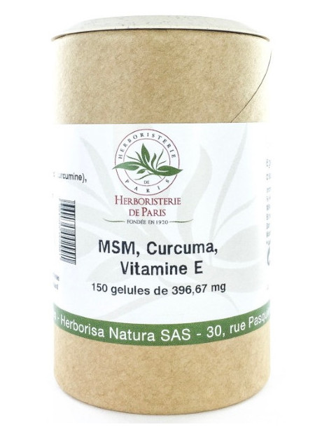 M.S.M Curcuma Vitamine E 150 gélules Herboristerie de Paris methyl sulfonyl methane curcumine