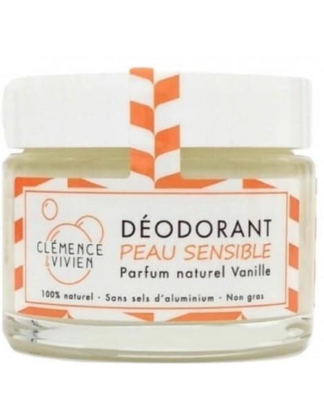 Baume déodorant Peau sensible à la Vanille 50gr Clemence et Vivien Herboristerie de paris