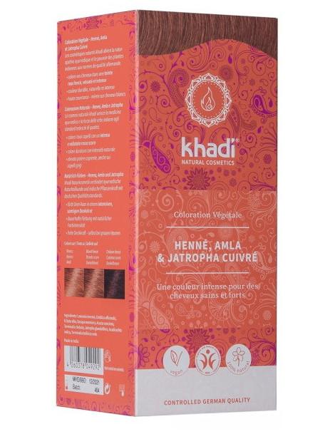 Coloration végétale Henné Amla et Jatropha cuivré 100 gr Khadi reflets cuivrés Herboristerie de paris
