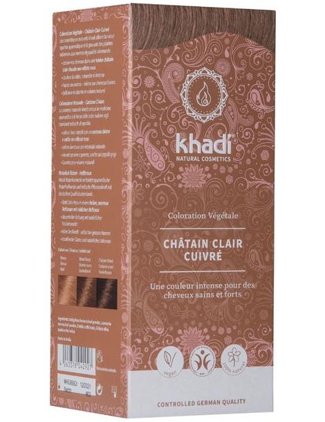 Coloration végétale Chatain Clair Cuivré 100 gr Khadi teinte reflets acajou et cuivrés Herboristerie de paris