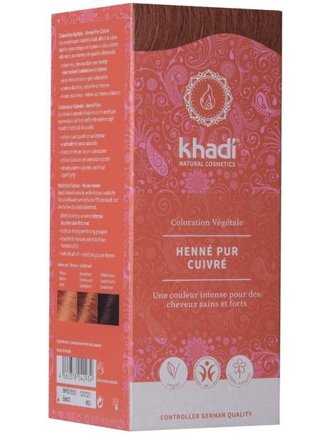 Coloration végétale Henné Pur cuivré 100 gr Khadi acajou ou cré Herboristerie de paris