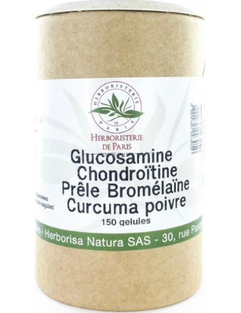 Glucosamine chondroïtine Prêle Bromélaïne Curcuma Poivre 150Gélules Herboristerie Paris articulations arti chondroitine