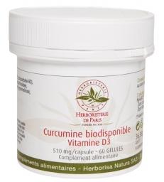 Curcumine biodisponible Vitamine D3 60 gélules Herboristerie de Paris